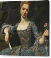Portrait Of A Lady In An Elaborately Embroidered Blue Dress Canvas Print