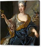 Portrait Of A Lady Three-quarter-length Holding Flowers Canvas Print