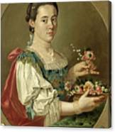 Portrait Of A Lady With A Flower Basket Canvas Print