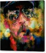 Portrait Of A Man In Sunglass Smoking A Cigar In The Sunshine Wearing A Hat And Riding A Motorcycle In Pink Green Yellow Black Blue Oil Paint With Raking Light To Pick Up Paint Texture Canvas Print