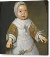 Portrait Of A One-year-old Girl Of The Van Der Burch Family Three-quarter Length Canvas Print