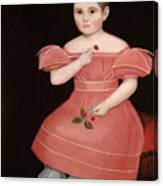 Portrait Of A Rosy Cheeked Young Girl In A Pink Dress Canvas Print