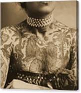 Portrait Of A Tattooed Woman Canvas Print