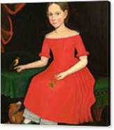 Portrait Of A Winsome Young Girl In Red With Green Slippers Dog And Bird Canvas Print