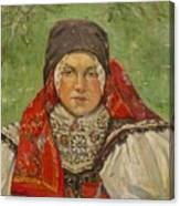 Portrait Of A Woman In A Red Scarf Canvas Print