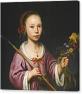Portrait Of A Young Girl As A Shepherdess Holding A Sprig Of Flowers Canvas Print