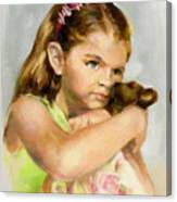 Portrait Of A Young Girl With Toy Bear Canvas Print