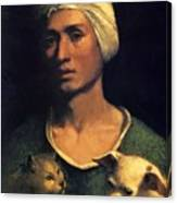 Portrait Of A Young Man With A Dog And A Cat Canvas Print