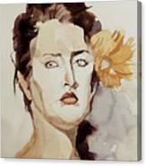 Portrait Of A Young Woman With Flower Canvas Print