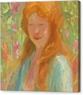 Portrait Of A Young Women In Garden 1912 Canvas Print
