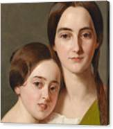 Portrait Of Alexandrine Pazzani And Her Cousin Caroline Von Saar According To Family Tradition Canvas Print