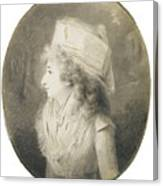 Portrait Of An Elegant Lady In Profile, Wearing A Hat Canvas Print