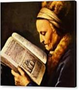 Portrait Of An Old Woman Reading Canvas Print