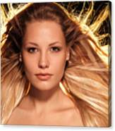 Portrait Of Beautiful Woman Face With Glowing Golden Blond Hair Canvas Print