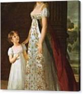 Portrait Of Caroline Murat With Her Daughter Canvas Print