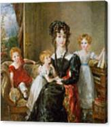 Portrait Of Elizabeth Lea And Her Children Canvas Print