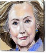 Pastel Portrait Of Hillary Clinton Canvas Print