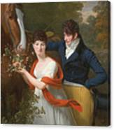 Portrait Of Jean-louis Gustave D'hautefort And His Sister Marie-therese-thais D'hautefort Canvas Print