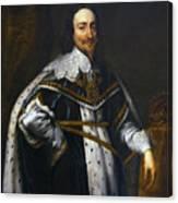 Portrait Of King Charles I After Van Dyck Canvas Print