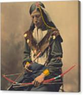 Portrait Of Oglala Sioux Council Chief Bone Necklace Canvas Print