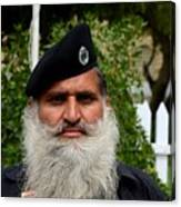 Portrait Of Pakistani Security Guard With Flowing White Beard Karachi Pakistan Canvas Print