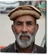 Portrait Of Pathan Tuk Tuk Rickshaw Driver Peshawar Pakistan Canvas Print