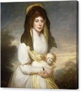 Portrait Of Queen Charlotte Three-quarter Length In A White Dress A Yellow Shawl And Black Mantilla Holding A Maltese Dog Sir Henry William Beechey Canvas Print