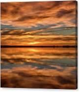 Portrait Of Sunrise Reflections On The Great Plains Canvas Print