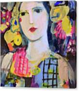 Portrait Of Woman With Flowers Canvas Print