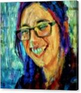 Portrait Painting In Acrylic Paint Of A Young Fresh Girl With Colorful Hair In A Library With Books  Canvas Print