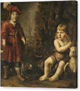 Portraits Of Two Boys In A Landscape One Dressed As A Hunter The Other St As John The Baptist Canvas Print