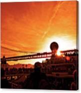 Sunset Under The 25 April Bridge Lisbon Canvas Print