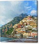 Positano Beach View Painting Canvas Print