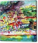 Amalfi Coast Positano Summer Fun Watercolor Painting Canvas Print