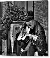 Post Alley Musician In Black And White Canvas Print