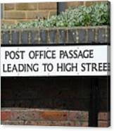 Post Office Passage In Hastings Canvas Print
