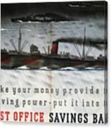 Post Office Savings Bank - Steamliner - Retro Travel Poster - Vintage Poster Canvas Print