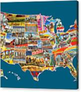 Postcards Of The United States Vintage Usa All 50 States Map Canvas Print