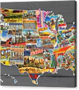 Postcards Of The United States Vintage Usa Map On Gray Wood Background Canvas Print