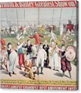 Poster Advertising The Barnum And Bailey Greatest Show On Earth Canvas Print