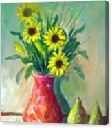 Pottery Vase And Flowers Canvas Print