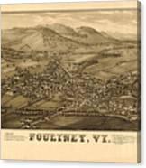 Poultney Vermont Map Vintage Canvas Print