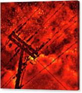 Power Line - Asphalt - Water Puddle Abstract Reflection 02 Canvas Print