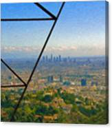 Power Lines Los Angeles Skyline Canvas Print