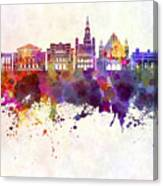 Poznan Skyline In Watercolor Background Canvas Print