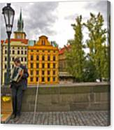Prague Accordian Player On Charles Bridge Canvas Print