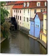 Prague Canal Mill Canvas Print