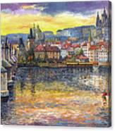 Prague Charles Bridge and Prague Castle with the Vltava River 1 Canvas Print