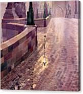 Prague Charles Bridge Night Light Canvas Print