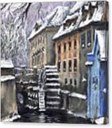 Prague Chertovka Winter Canvas Print